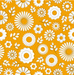 Orange Seamless floral background summer flowers and leaves