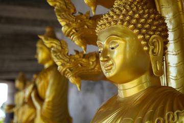 Primo piano statua dorata.