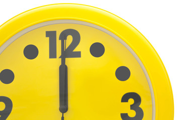 Close up Yellow wall clock