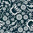 Vintage floral background seamless pattern in black white