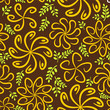Brown yellow vintage flower pattern
