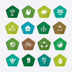 Ecology icons, eco buttons collection