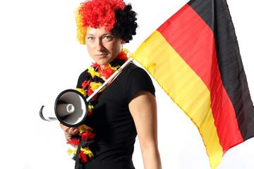 Deutschland Fan mit Megafon & Fahne