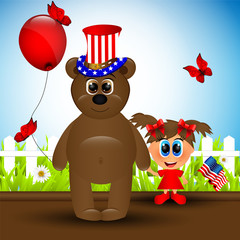Independence day card with bear and girl