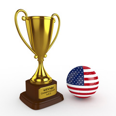 3d United States of America Soccer Cup and Ball - isolated