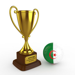 3d Algeria Soccer Cup and Ball - isolated