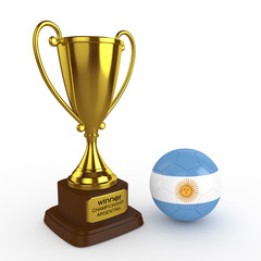 3d Argentina Soccer Cup and Ball - isolated