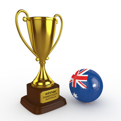 3d Australia Soccer Cup and Ball - isolated