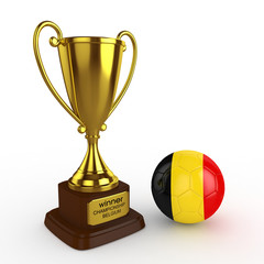 3d Belgium Soccer Cup and Ball - isolated