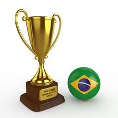 3d Brazil Soccer Cup and Ball - isolated