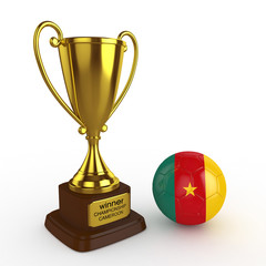 3d Cameroon Soccer Cup and Ball - isolated