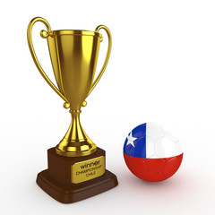 3d Chile Soccer Cup and Ball - isolated