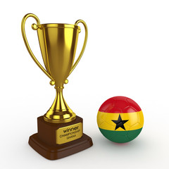 3d Ghana Soccer Cup and Ball - isolated