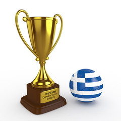 3d Greece Soccer Cup and Ball - isolated