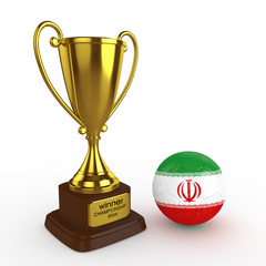 3d Iran Soccer Cup and Ball - isolated