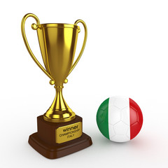 3d Italy Soccer Cup and Ball - isolated