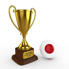 3d Japan Soccer Cup and Ball - isolated