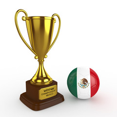 3d Mexico Soccer Cup and Ball - isolated