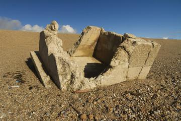 Remains of concrete Pillbox World War Two Pillbox.