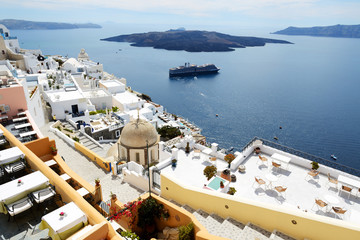 The Fira town with view on Aegean sea, Santorini island, Greece