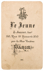 antique french carte de visite. vintage business card