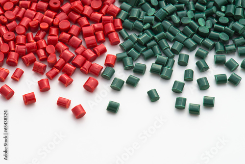 red and green plastic granulate