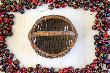 Frame of cherries with a hamper