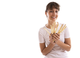 Smiling woman with asparagus, isolated on white