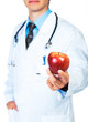 Doctor holding red apple on white close-up