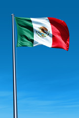 Mexico flag waving on the wind