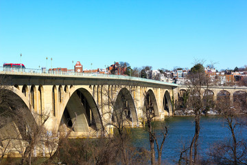 Key Bridge over Potomac river and Georgetown in winter