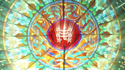 Stained Glass with Bahai ringstone symbol (Seamless Loop)