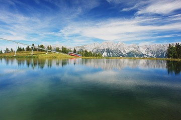 View of the Lake and Kaiser Mountains, Austrian Alps