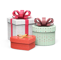 Set of retro gift boxes on white background