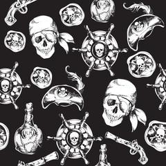 Pirates black and white seamless pattern