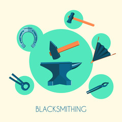 Blacksmith basic symbols emblems poster