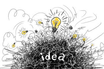 Thinking bright idea concept