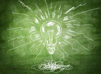 Drawing of Light bulb on blackboard