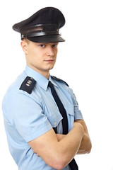 Portrait of young policemen standing in uniform