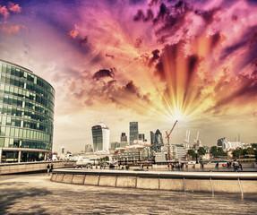 London skyline on a beautiful summer evening