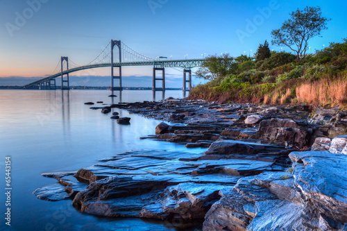 Tuinposter Bruggen Newport Bridge Sunrise