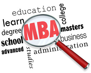 MBA Masters Business Administration Magnifying Glass Words