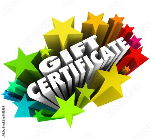 Gift Certificate Stars Words Fireworks Shopping Merchandise Stor