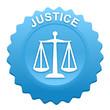 justice sur bouton web denté bleu