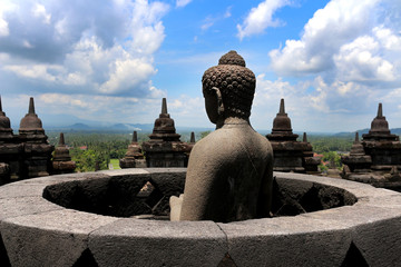 Buddha statue at Borobudur in Indonesia