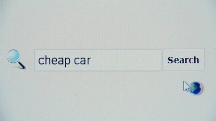 Cheap car - browser search query, Internet web page