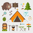 Vector icons forest camping set - 65444758