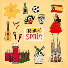 Tour of Spain hand-drawn illustration