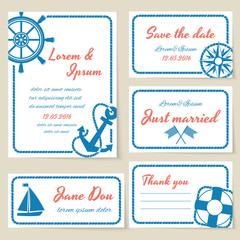 Nautical style wedding invitation and cards