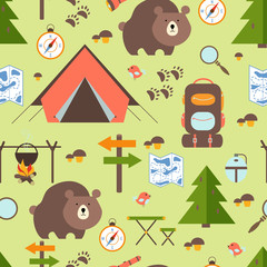Hike in the woods seamless pattern